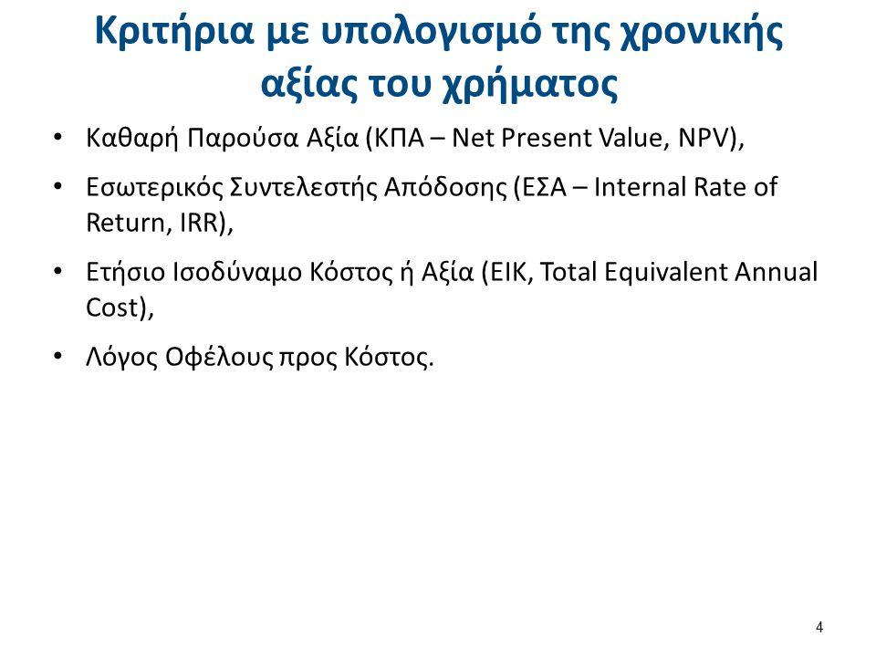 Κριτήρια με υπολογισμό της χρονικής αξίας του χρήματος Καθαρή Παρούσα Αξία (ΚΠΑ – Net Present Value, NPV), Εσωτερικός Συντελεστής Απόδοσης (ΕΣΑ – Internal Rate of Return, IRR), Ετήσιο Ισοδύναμο Κόστος ή Αξία (ΕΙΚ, Total Equivalent Annual Cost), Λόγος Οφέλους προς Κόστος.