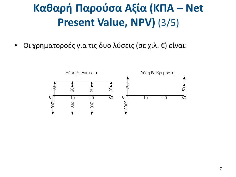 Καθαρή Παρούσα Αξία (ΚΠΑ – Net Present Value, NPV) (3/5) Οι χρηματοροές για τις δυο λύσεις (σε χιλ. €) είναι: 7