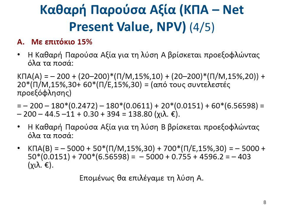 Καθαρή Παρούσα Αξία (ΚΠΑ – Net Present Value, NPV) (4/5) A.Με επιτόκιο 15% Η Καθαρή Παρούσα Αξία για τη λύση Α βρίσκεται προεξοφλώντας όλα τα ποσά: ΚΠΑ(Α) = – 200 + (20–200)*(Π/Μ,15%,10) + (20–200)*(Π/Μ,15%,20)) + 20*(Π/Μ,15%,30+ 60*(Π/Ε,15%,30) = (από τους συντελεστές προεξόφλησης) = – 200 – 180*(0.2472) – 180*(0.0611) + 20*(0.0151) + 60*(6.56598) = – 200 – 44.5 –11 + 0.30 + 394 = 138.80 (χιλ.