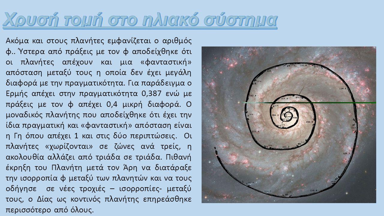 Ακόμα και στους πλανήτες εμφανίζεται ο αριθμός φ.. Ύστερα από πράξεις με τον φ αποδείχθηκε ότι οι πλανήτες απέχουν και μια «φανταστική» απόσταση μεταξ
