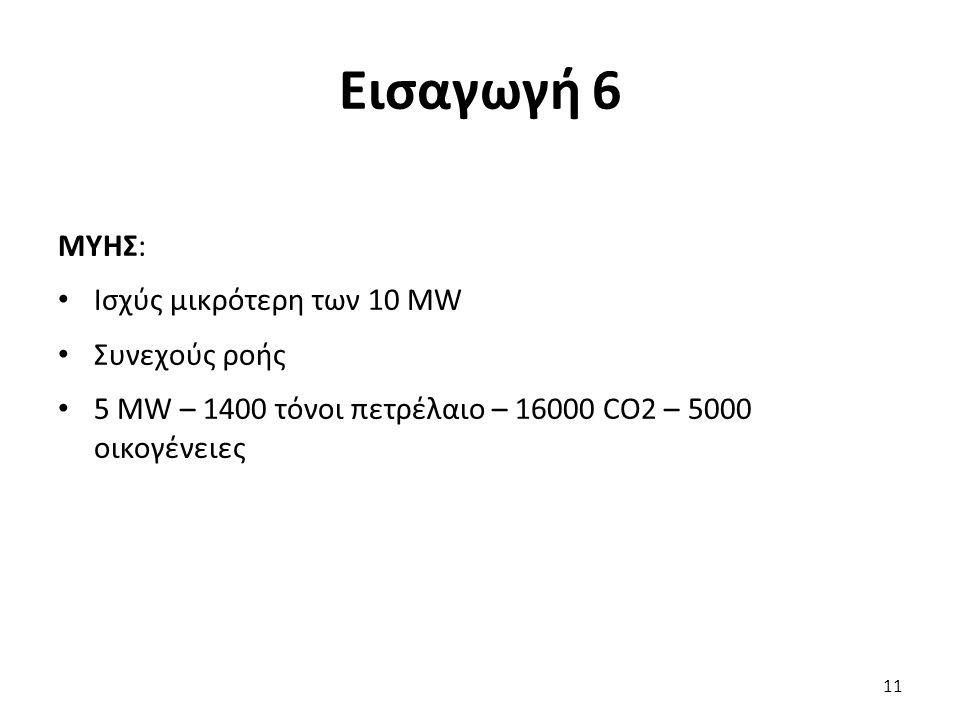 Εισαγωγή 6 ΜΥΗΣ: Ισχύς μικρότερη των 10 MW Συνεχούς ροής 5 MW – 1400 τόνοι πετρέλαιο – 16000 CO2 – 5000 οικογένειες 11