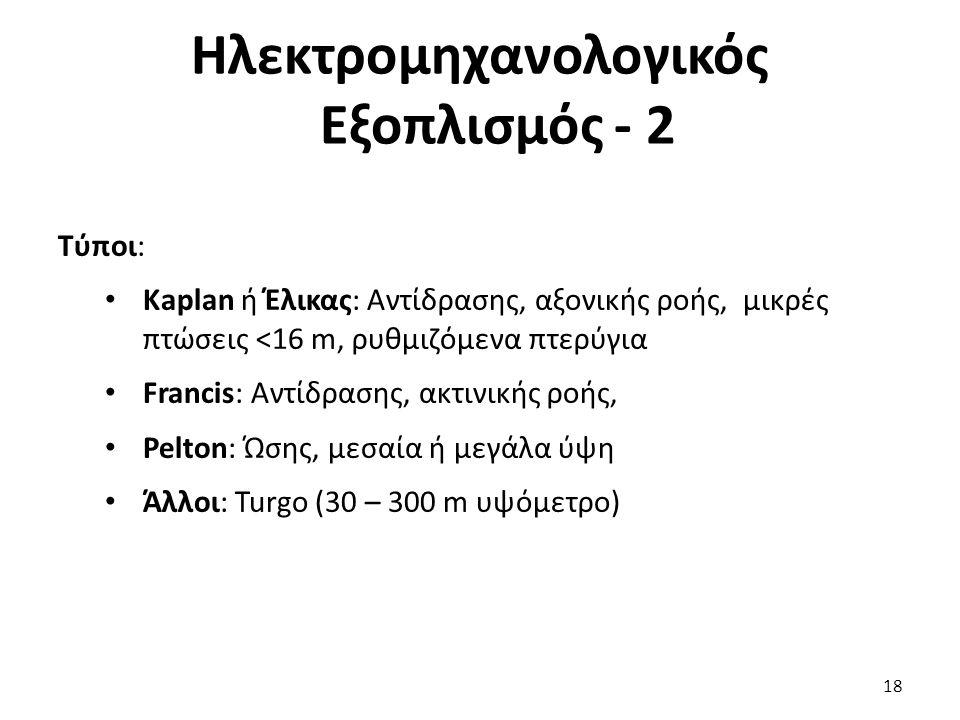 Τύποι: Kaplan ή Έλικας: Αντίδρασης, αξονικής ροής, μικρές πτώσεις <16 m, ρυθμιζόμενα πτερύγια Francis: Αντίδρασης, ακτινικής ροής, Pelton: Ώσης, μεσαί