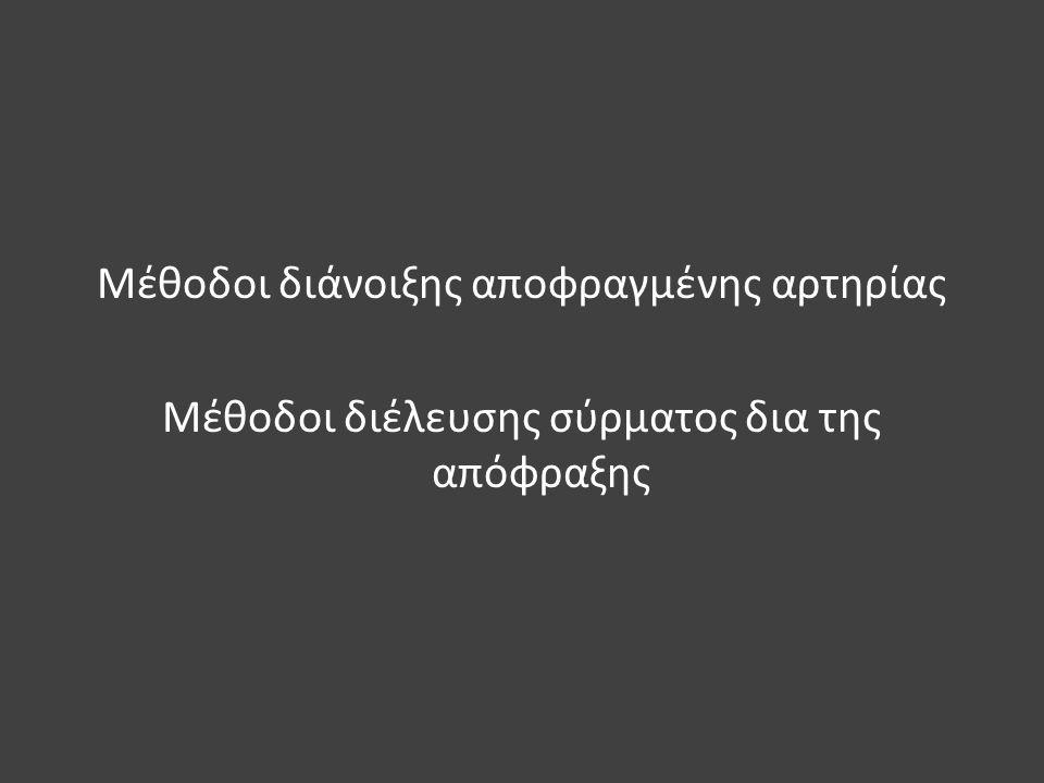 Μέθοδοι διάνοιξης αποφραγμένης αρτηρίας Μέθοδοι διέλευσης σύρματος δια της απόφραξης