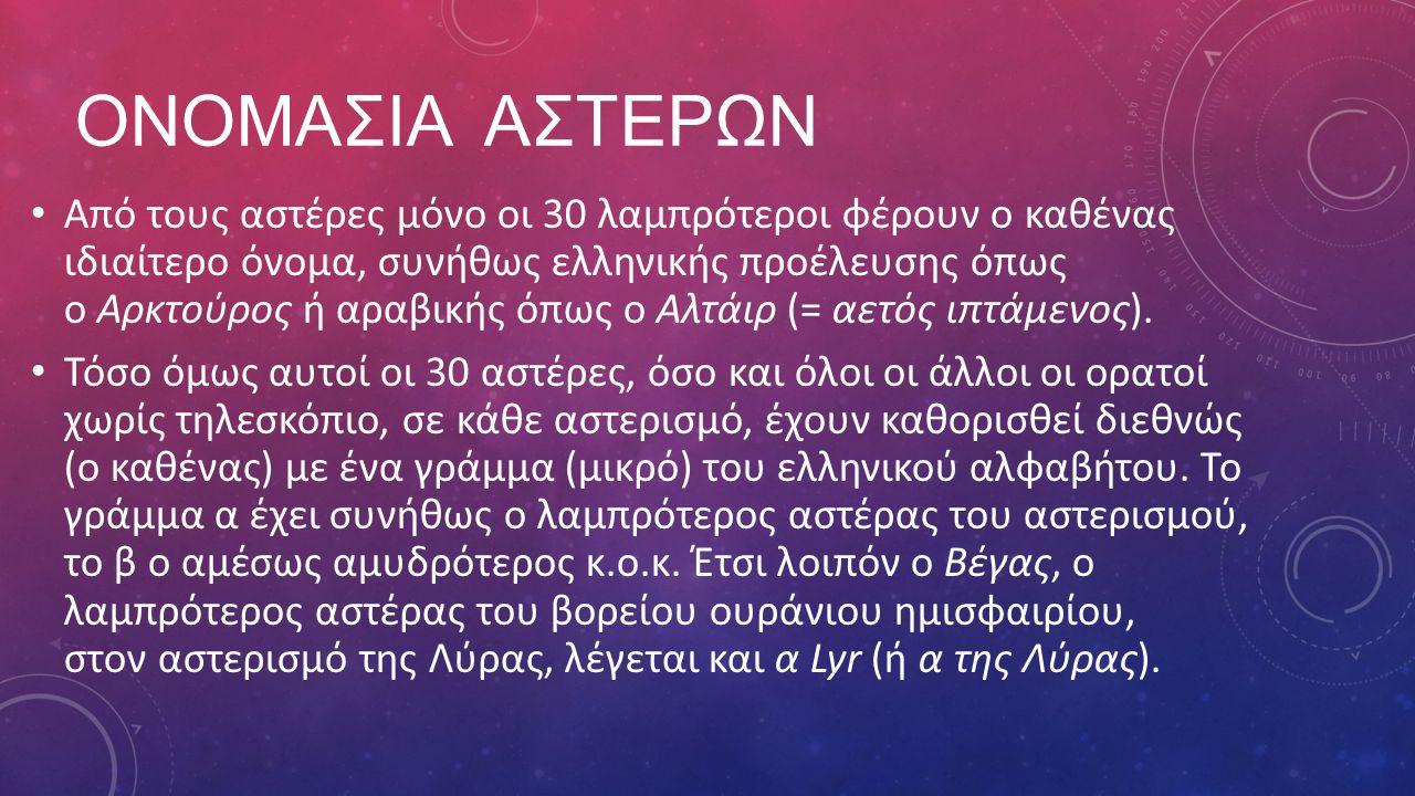 ΟΝΟΜΑΣΙΑ ΑΣΤΕΡΩΝ Από τους αστέρες μόνο οι 30 λαμπρότεροι φέρουν ο καθένας ιδιαίτερο όνομα, συνήθως ελληνικής προέλευσης όπως ο Αρκτούρος ή αραβικής όπως ο Αλτάιρ (= αετός ιπτάμενος).