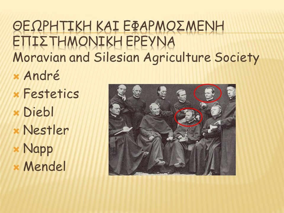 Moravian and Silesian Agriculture Society  André  Festetics  Diebl  Nestler  Napp  Mendel