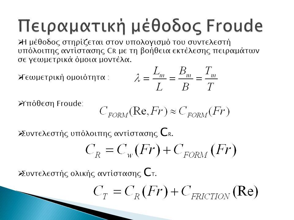 Ο συντελεστής μορφής (1+k) υπολογίζεται από την ακόλουθη σχέση, μέσω της εκτέλεσης σειράς πειραμάτων σε αριθμούς Fr από 0,12 έως 0,24 Για τον συντελεστή C A προτείνεται από την ΙΤΤC η τιμή 0,0004