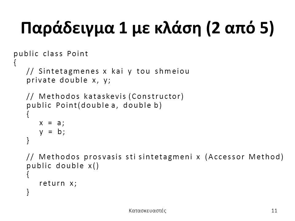 Παράδειγμα 1 με κλάση (2 από 5) public class Point { // Sintetagmenes x kai y tou shmeiou private double x, y; // Methodos kataskevis (Constructor) pu