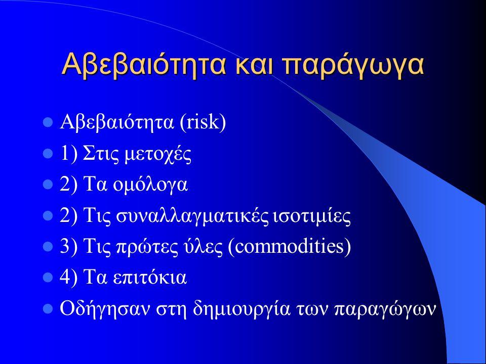 Αβεβαιότητα και παράγωγα Αβεβαιότητα (risk) 1) Στις μετοχές 2) Τα ομόλογα 2) Τις συναλλαγματικές ισοτιμίες 3) Τις πρώτες ύλες (commodities) 4) Τα επιτόκια Οδήγησαν στη δημιουργία των παραγώγων