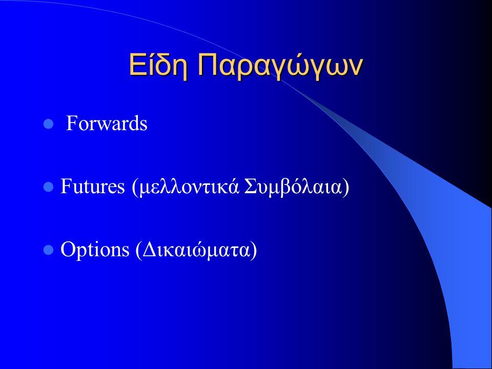 Είδη Παραγώγων Forwards Futures (μελλοντικά Συμβόλαια) Options (Δικαιώματα)