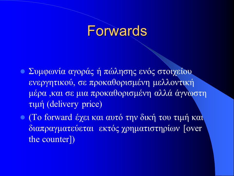 Futures Συμφωνία αγοράς ή πώλησης ενός στοιχείου ενεργητικού, σε προκαθορισμένη μελλοντική μέρα,και σε μια προκαθορισμένη (αλλά και άγνωστη) τιμή (delivery price) (Το future έχει και αυτό την δική του τιμή και διαπραγματεύεται, σε αντίθεση με τα forward εντός των χρηματιστηρίων)