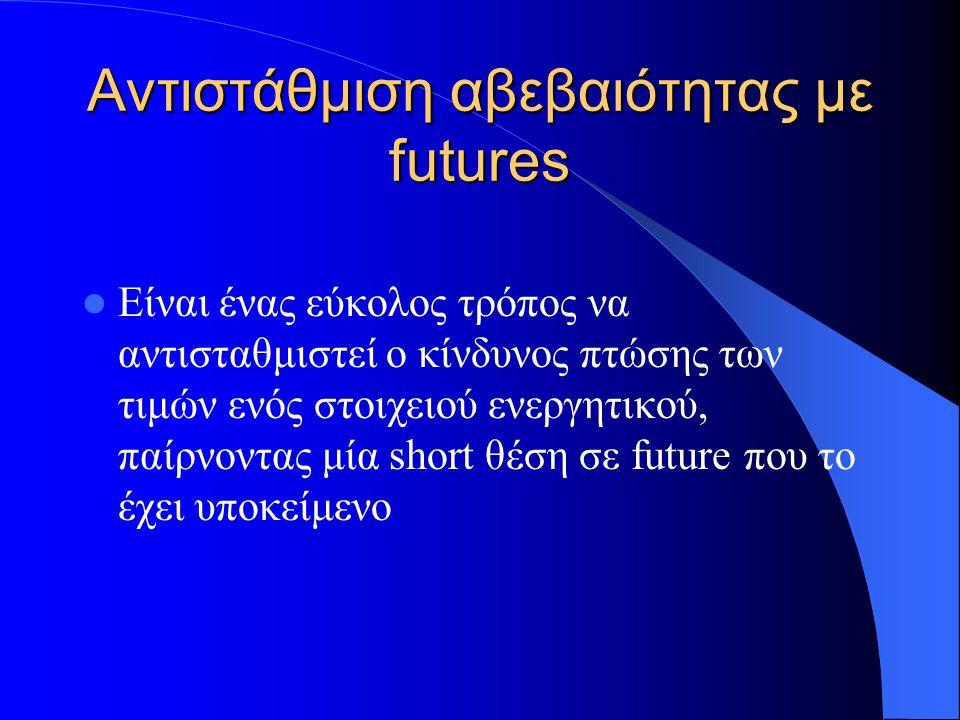 Αντιστάθμιση αβεβαιότητας με futures Είναι ένας εύκολος τρόπος να αντισταθμιστεί ο κίνδυνος πτώσης των τιμών ενός στοιχειού ενεργητικού, παίρνοντας μία short θέση σε future που το έχει υποκείμενο