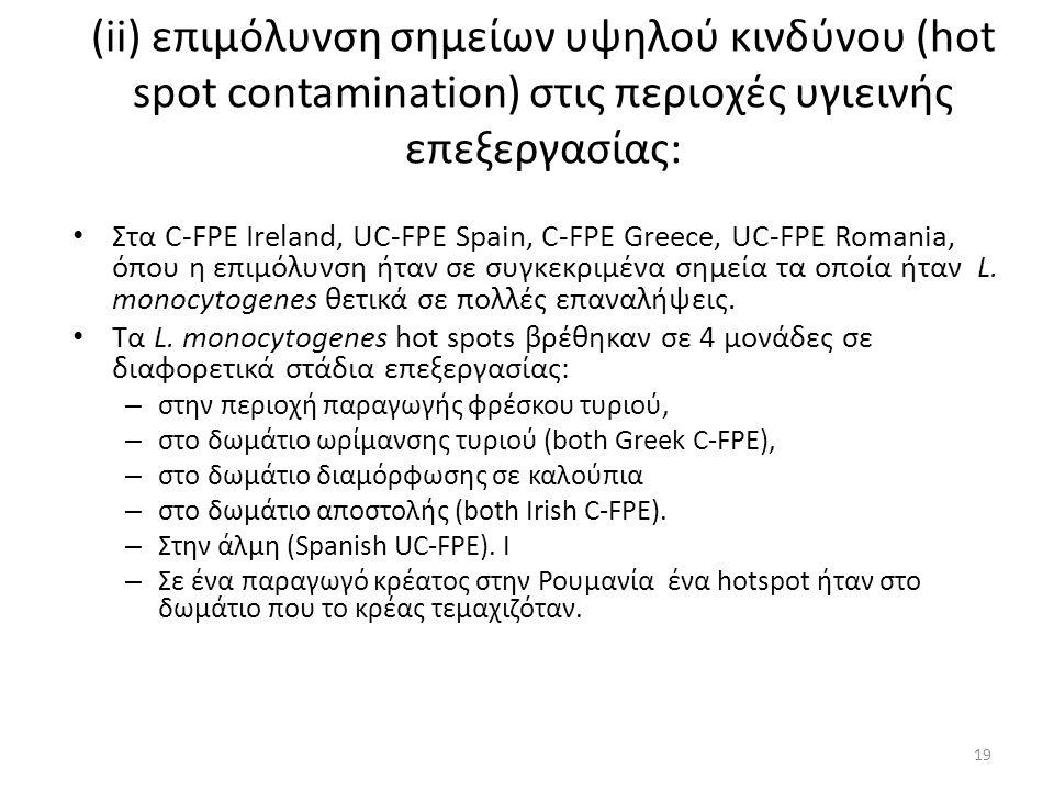 (ii) επιμόλυνση σημείων υψηλού κινδύνου (hot spot contamination) στις περιοχές υγιεινής επεξεργασίας: Στα C-FPE Ireland, UC-FPE Spain, C-FPE Greece, UC-FPE Romania, όπου η επιμόλυνση ήταν σε συγκεκριμένα σημεία τα οποία ήταν L.