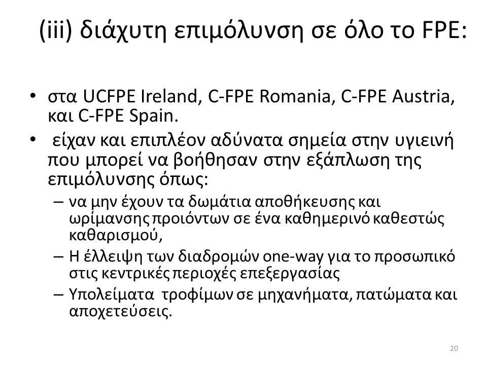 (iii) διάχυτη επιμόλυνση σε όλο το FPE: στα UCFPE Ireland, C-FPE Romania, C-FPE Austria, και C-FPE Spain.
