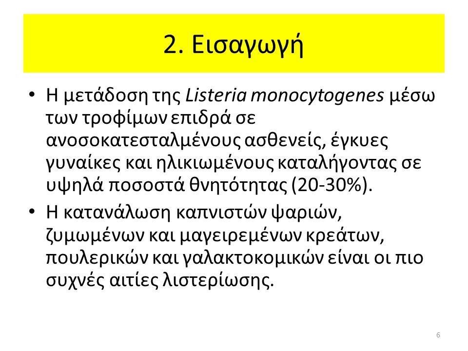 2. Εισαγωγή Η μετάδοση της Listeria monocytogenes μέσω των τροφίμων επιδρά σε ανοσοκατεσταλμένους ασθενείς, έγκυες γυναίκες και ηλικιωμένους καταλήγον