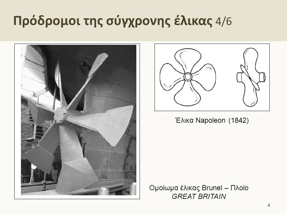 Πρόδρομοι της σύγχρονης έλικας 4/6 4 Έλικα Napoleon (1842) Ομοίωμα έλικας Brunel – Πλοίο GREAT BRITAIN