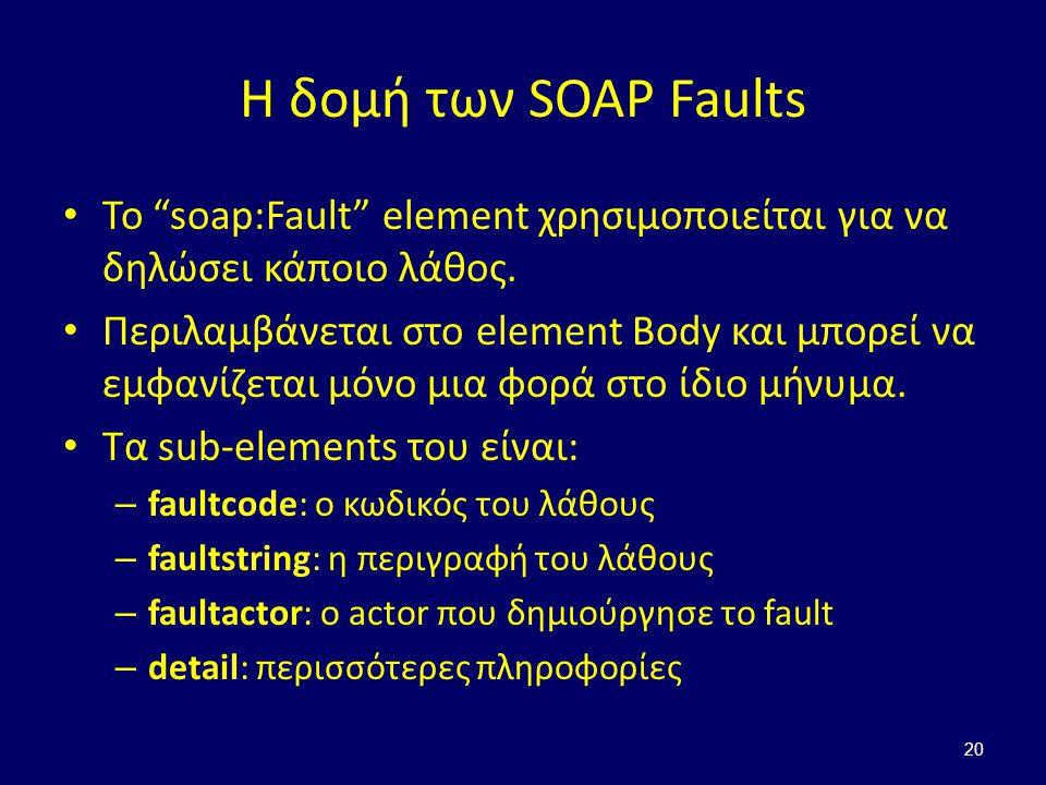 20 Η δομή των SOAP Faults Το soap:Fault element χρησιμοποιείται για να δηλώσει κάποιο λάθος.