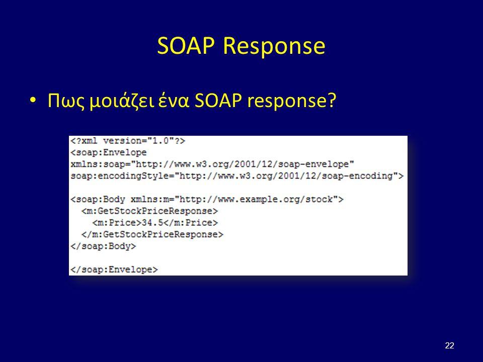 22 SOAP Response Πως μοιάζει ένα SOAP response?
