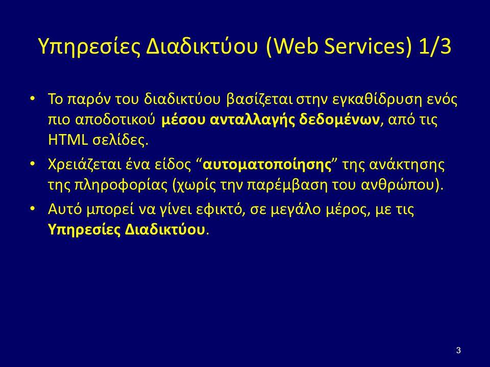 Υπηρεσίες Διαδικτύου (Web Services) 1/3 Το παρόν του διαδικτύου βασίζεται στην εγκαθίδρυση ενός πιο αποδοτικού μέσου ανταλλαγής δεδομένων, από τις HTML σελίδες.