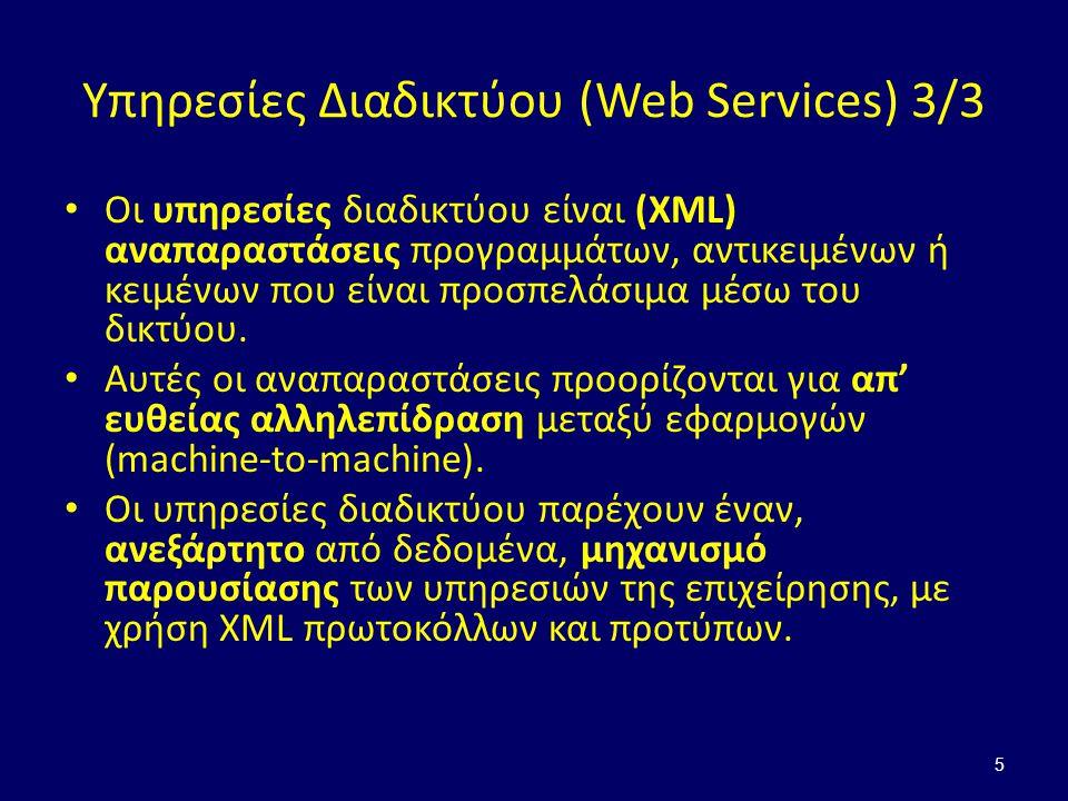 Η αρχιτεκτονική των Web Services 1/2 6 Πάροχος Υπηρεσιών Πελάτης Περιγραφή Υπηρεσίας Κατάλογος Υπηρεσιών 1) Καταχώρηση 2) Αναζήτηση 3) Δέσμευση & Χρήση Επικοινωνία Δεδομένα