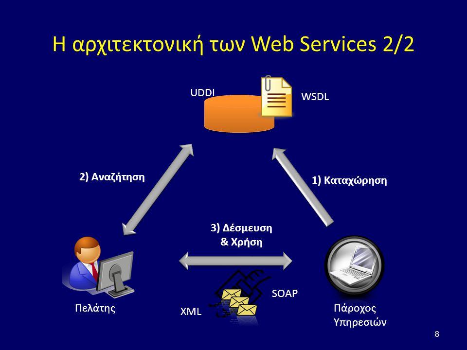 Η αρχιτεκτονική των Web Services 2/2 8 Πάροχος Υπηρεσιών Πελάτης WSDL UDDI 1) Καταχώρηση 2) Αναζήτηση 3) Δέσμευση & Χρήση SOAP XML