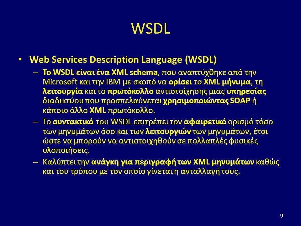 9 WSDL Web Services Description Language (WSDL) – Το WSDL είναι ένα XML schema, που αναπτύχθηκε από την Microsoft και την IBM με σκοπό να ορίσει το XML μήνυμα, τη λειτουργία και το πρωτόκολλο αντιστοίχησης μιας υπηρεσίας διαδικτύου που προσπελαύνεται χρησιμοποιώντας SOAP ή κάποιο άλλο XML πρωτόκολλο.