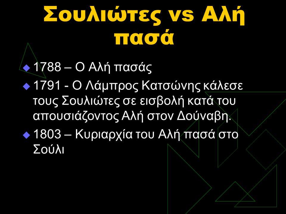 Σουλιώτες vs Αλή πασά  1788 – Ο Αλή πασάς  1791 - Ο Λάμπρος Κατσώνης κάλεσε τους Σουλιώτες σε εισβολή κατά του απουσιάζοντος Αλή στον Δούναβη.  180