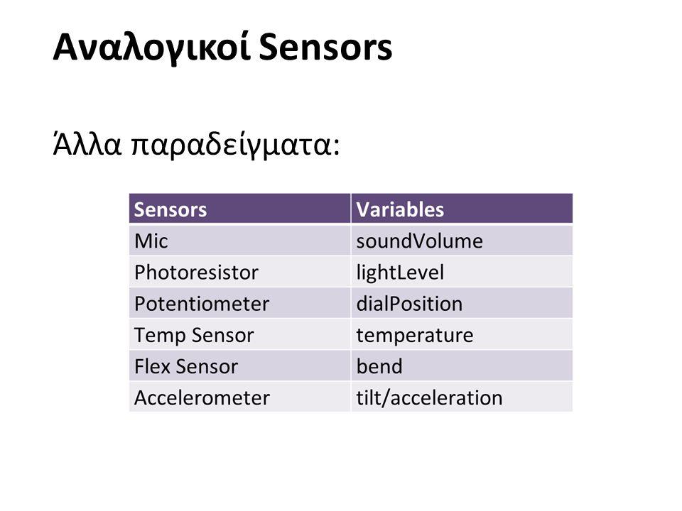 Αναλογικοί Sensors Άλλα παραδείγματα: