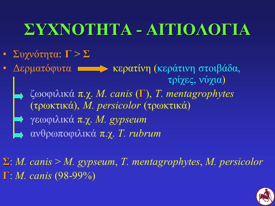 ΣΥΧΝΟΤΗΤΑ - ΑΙΤΙΟΛΟΓΙΑ ΓΣΣυχνότητα: Γ > Σ Δερματόφυτακερατίνη (κεράτινη στοιβάδα, τρίχες, νύχια) Γ ζωοφιλικά π.χ. M. canis (Γ), T. mentagrophytes (τρω
