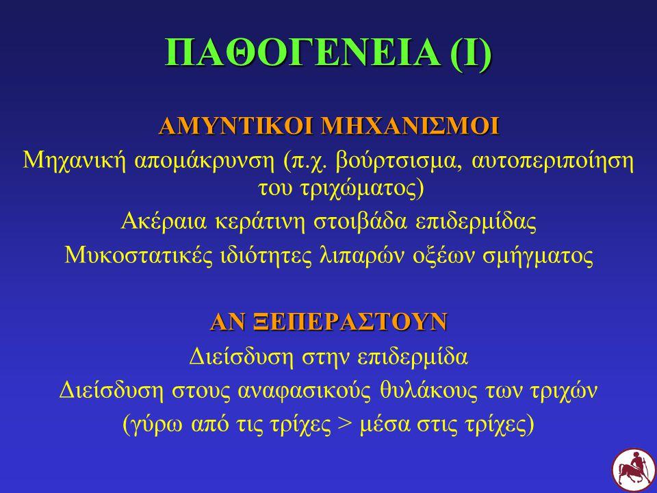 Σ Υποχώρηση των αλλοιώσεων Σ με δερματοφυτίαση μετά από 1 (εικόνα Β) και 2 (εικόνα Γ) μήνες θεραπείας με ιτρακοναζόλη από το στόμα και λουτρών με ενιλκοναζόλη Α Β Γ