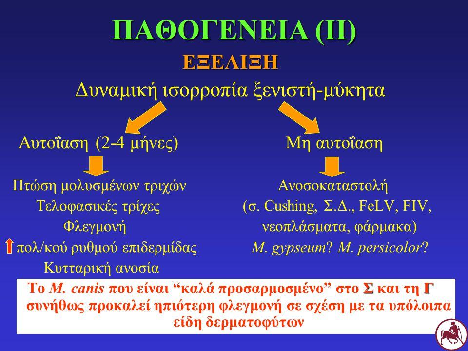ΕΞΕΛΙΞΗ Δυναμική ισορροπία ξενιστή-μύκητα Αυτοΐαση (2-4 μήνες)Μη αυτοΐαση Πτώση μολυσμένων τριχών Ανοσοκαταστολή Τελοφασικές τρίχες (σ. Cushing, Σ.Δ.,