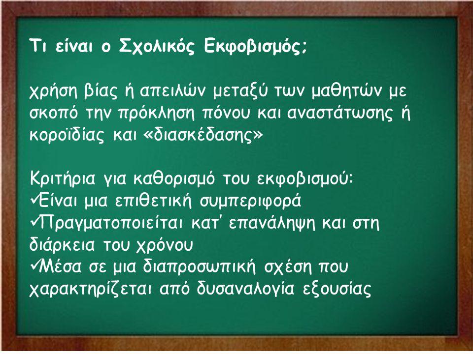 Τι είναι ο Σχολικός Εκφοβισμός; χρήση βίας ή απειλών μεταξύ των μαθητών με σκοπό την πρόκληση πόνου και αναστάτωσης ή κοροϊδίας και «διασκέδασης» Κριτ