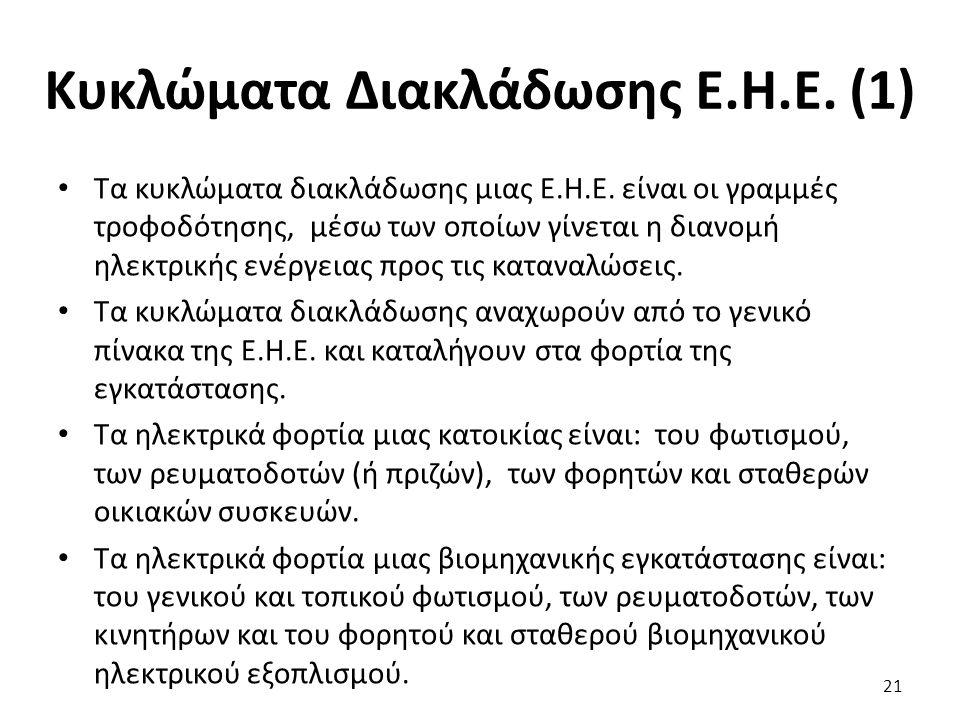 Κυκλώματα Διακλάδωσης Ε.Η.Ε.(1) Τα κυκλώματα διακλάδωσης μιας Ε.Η.Ε.