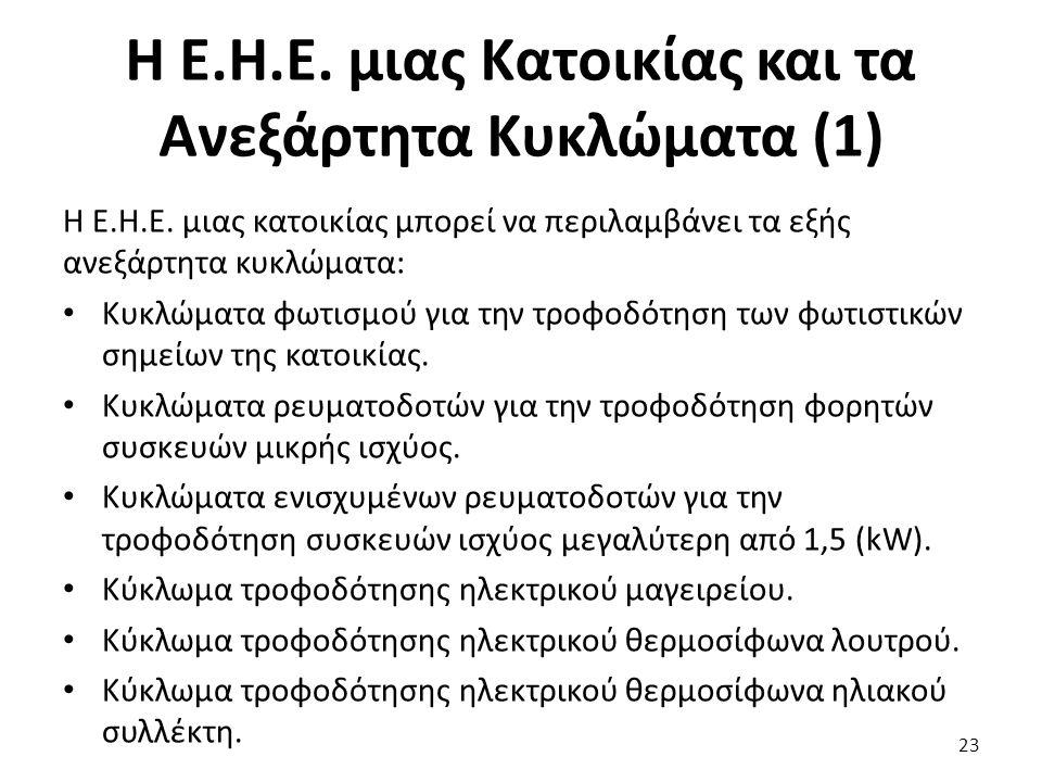 Η Ε.Η.Ε.μιας Κατοικίας και τα Ανεξάρτητα Κυκλώματα (1) Η Ε.Η.Ε.