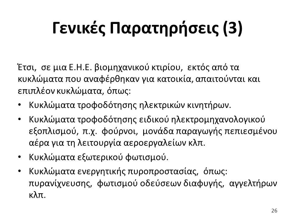 Γενικές Παρατηρήσεις (3) Έτσι, σε μια Ε.Η.Ε.