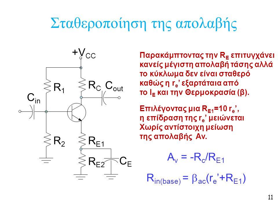 11 Σταθεροποίηση της απολαβής +V CC R1R1 R2R2 RCRC R E1 C in C out R E2 CECE Παρακάμπτοντας την R E επιτυγχάνει κανείς μέγιστη απολαβή τάσης αλλά το κ