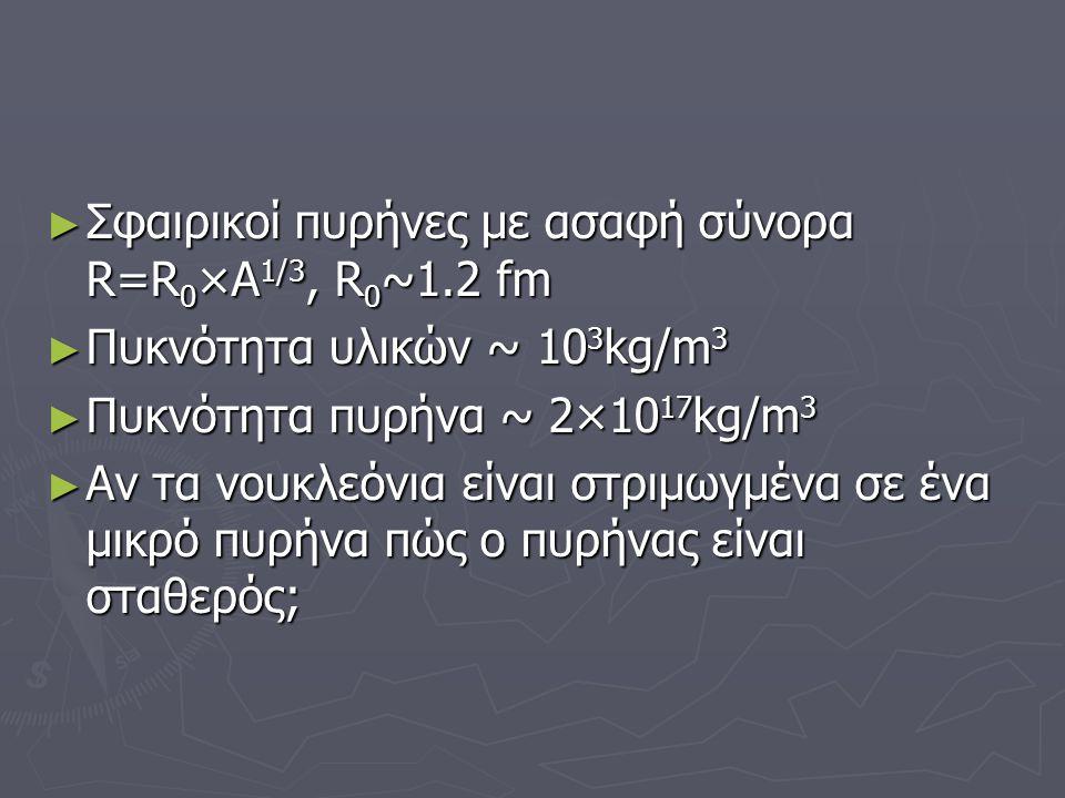 ► Κατά τις α, β και γ διασπάσεις τι αλλάζει από τα Ζ,Α και Ν και με ποιο τρόπο; ► Τι συμπέρασμα προκύπτει από την εξίσωση R=R0A1/3 σχετικά με τη μάζα και την πυκνότητα του πυρήνα; ► Ποιοι είναι οι τρεις παράγοντες που επηρεάζουν τη σταθέρότητα του πυρήνα;