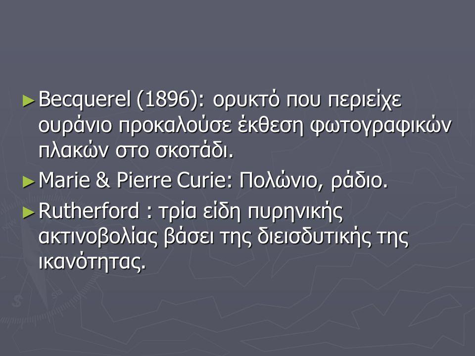 ► Becquerel (1896): ορυκτό που περιείχε ουράνιο προκαλούσε έκθεση φωτογραφικών πλακών στο σκοτάδι.