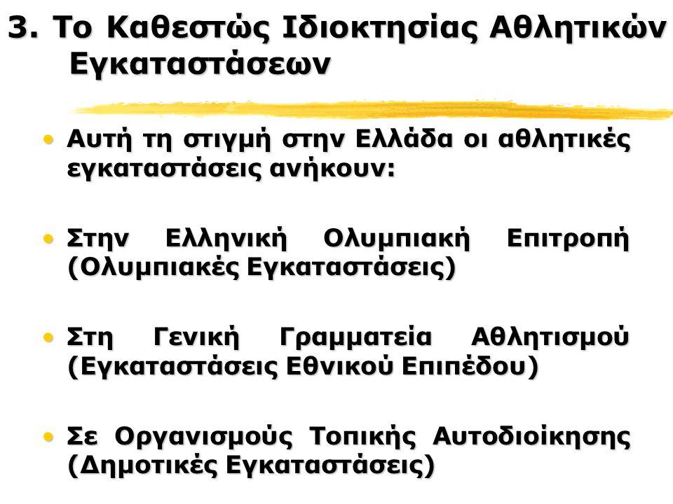 Αυτή τη στιγμή στην Ελλάδα οι αθλητικές εγκαταστάσεις ανήκουν:Αυτή τη στιγμή στην Ελλάδα οι αθλητικές εγκαταστάσεις ανήκουν: Στην Ελληνική Ολυμπιακή Ε