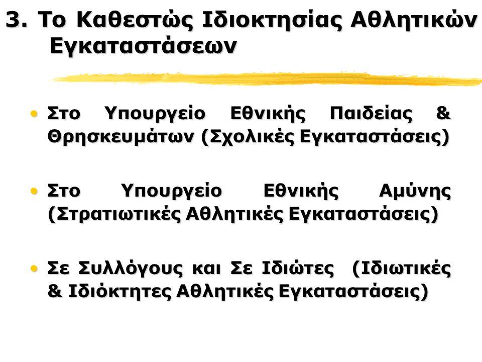Στο Υπουργείο Εθνικής Παιδείας & Θρησκευμάτων (Σχολικές Εγκαταστάσεις)Στο Υπουργείο Εθνικής Παιδείας & Θρησκευμάτων (Σχολικές Εγκαταστάσεις) Στο Υπουργείο Εθνικής Αμύνης (Στρατιωτικές Αθλητικές Εγκαταστάσεις)Στο Υπουργείο Εθνικής Αμύνης (Στρατιωτικές Αθλητικές Εγκαταστάσεις) Σε Συλλόγους και Σε Ιδιώτες (Ιδιωτικές & Ιδιόκτητες Αθλητικές Εγκαταστάσεις)Σε Συλλόγους και Σε Ιδιώτες (Ιδιωτικές & Ιδιόκτητες Αθλητικές Εγκαταστάσεις) 3.