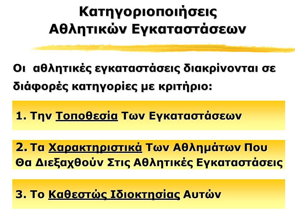 Αυτή τη στιγμή στην Ελλάδα οι αθλητικές εγκαταστάσεις ανήκουν:Αυτή τη στιγμή στην Ελλάδα οι αθλητικές εγκαταστάσεις ανήκουν: Στην Ελληνική Ολυμπιακή Επιτροπή (Ολυμπιακές Εγκαταστάσεις)Στην Ελληνική Ολυμπιακή Επιτροπή (Ολυμπιακές Εγκαταστάσεις) Στη Γενική Γραμματεία Αθλητισμού (Εγκαταστάσεις Εθνικού Επιπέδου)Στη Γενική Γραμματεία Αθλητισμού (Εγκαταστάσεις Εθνικού Επιπέδου) Σε Οργανισμούς Τοπικής Αυτοδιοίκησης (Δημοτικές Εγκαταστάσεις)Σε Οργανισμούς Τοπικής Αυτοδιοίκησης (Δημοτικές Εγκαταστάσεις) 3.