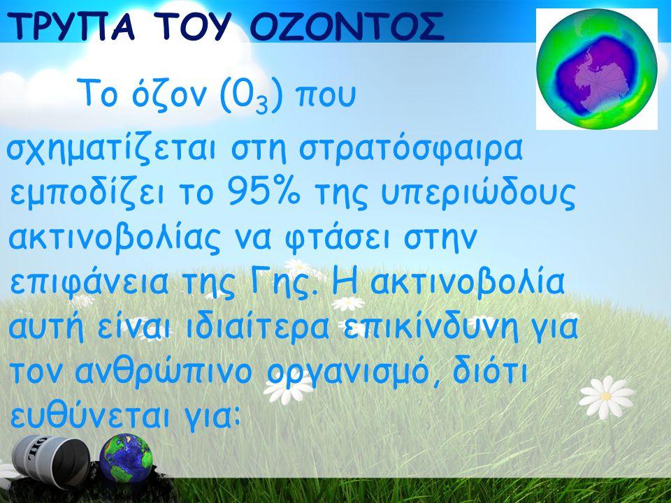 ΤΡΥΠΑ ΤΟΥ ΟΖΟΝΤΟΣ Το όζον (0 3 ) που σχηματίζεται στη στρατόσφαιρα εμποδίζει το 95% της υπεριώδους ακτινοβολίας να φτάσει στην επιφάνεια της Γης.