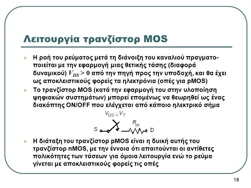 Λειτουργία τρανζίστορ MOS Η ροή του ρεύματος μετά τη διάνοιξη του καναλιού πραγματο- ποιείται με την εφαρμογή μιας θετικής τάσης (διαφορά δυναμικού) V