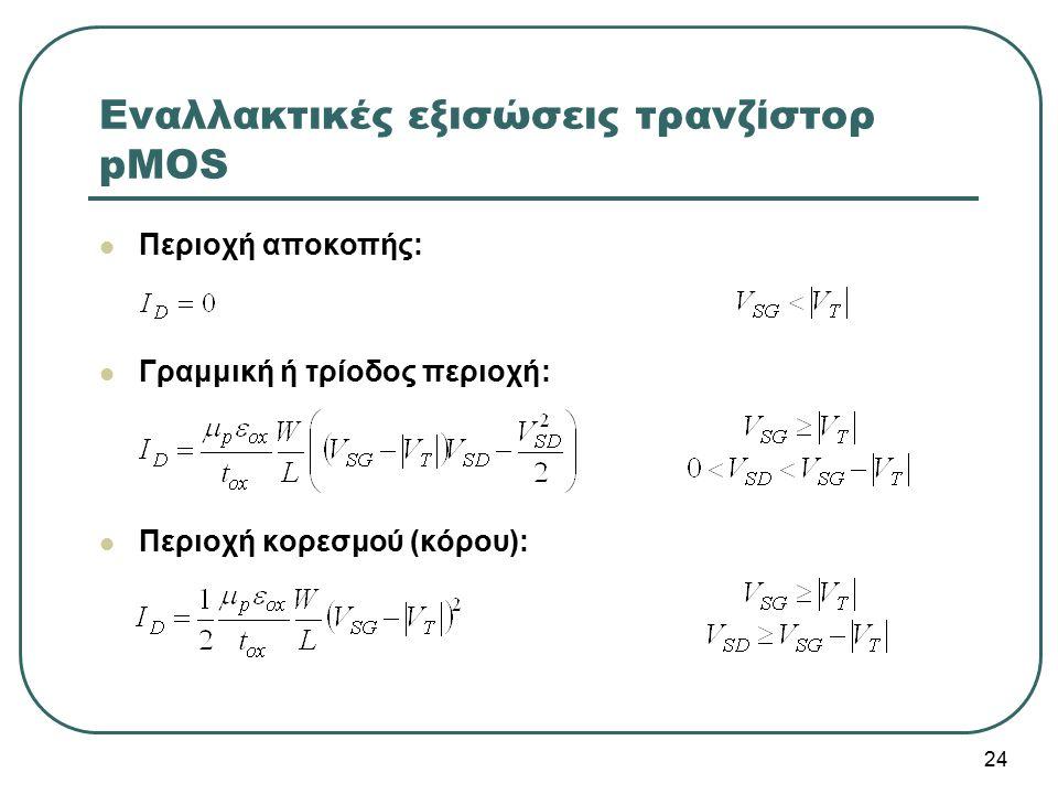 Εναλλακτικές εξισώσεις τρανζίστορ pMOS Περιοχή αποκοπής: Γραμμική ή τρίοδος περιοχή: Περιοχή κορεσμού (κόρου): 24