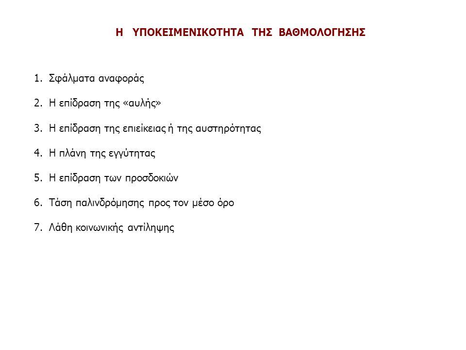 Η ΥΠΟΚΕΙΜΕΝΙΚΟΤΗΤΑ ΤΗΣ ΒΑΘΜΟΛΟΓΗΣΗΣ 1. Σφάλματα αναφοράς 2. Η επίδραση της «αυλής» 3. Η επίδραση της επιείκειας ή της αυστηρότητας 4. Η πλάνη της εγγύ