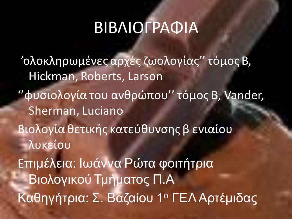 ΒΙΒΛΙΟΓΡΑΦΙΑ ''ολοκληρωμένες αρχές ζωολογίας'' τόμος Β, Hickman, Roberts, Larson ''φυσιολογία του ανθρώπου'' τόμος Β, Vander, Sherman, Luciano Βιολογία θετικής κατεύθυνσης β ενιαίου λυκείου E πιμέλεια: Ιωάννα Ρώτα φοιτήτρια Βιολογικού Τμήματος Π.Α Καθηγήτρια: Σ.