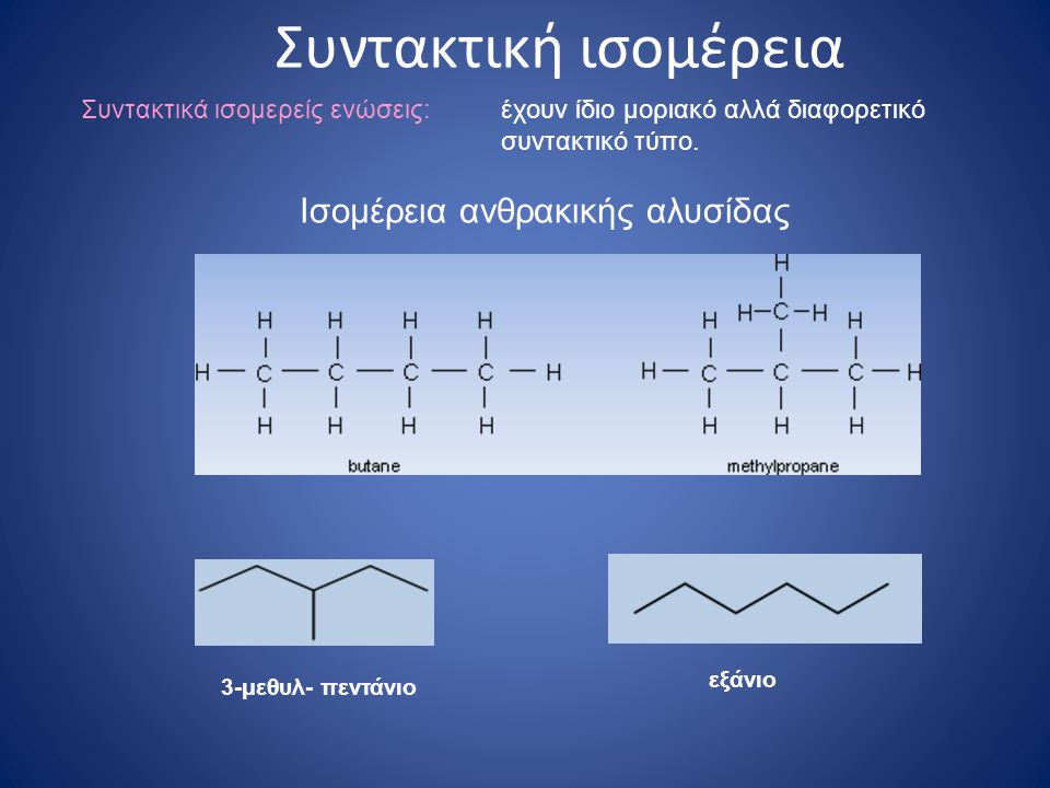 Ισομέρεια ανθρακικής αλυσίδας Συντακτική ισομέρεια 3-μεθυλ- πεντάνιο εξάνιο Συντακτικά ισομερείς ενώσεις:έχουν ίδιο μοριακό αλλά διαφορετικό συντακτικό τύπο.