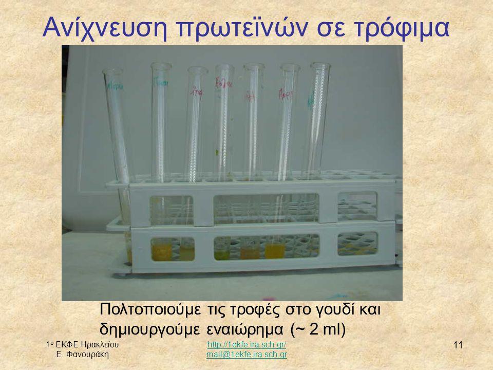 1 ο ΕΚΦΕ Ηρακλείου Ε. Φανουράκη http://1ekfe.ira.sch.gr/ mail@1ekfe.ira.sch.gr 11 Ανίχνευση πρωτεϊνών σε τρόφιμα Πολτοποιούμε τις τροφές στο γουδί και