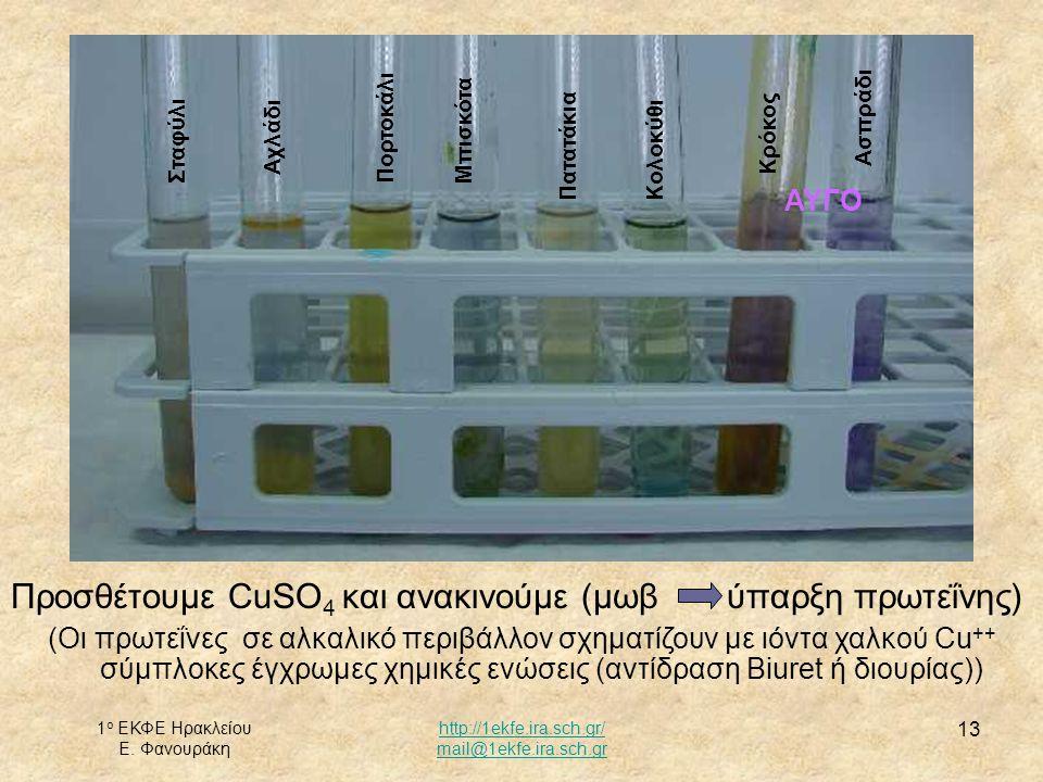 1 ο ΕΚΦΕ Ηρακλείου Ε. Φανουράκη http://1ekfe.ira.sch.gr/ mail@1ekfe.ira.sch.gr 13 Προσθέτουμε CuSO 4 και ανακινούμε (μωβ ύπαρξη πρωτεΐνης) (Οι πρωτεΐν