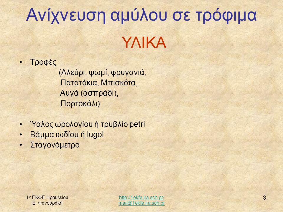 1 ο ΕΚΦΕ Ηρακλείου Ε. Φανουράκη http://1ekfe.ira.sch.gr/ mail@1ekfe.ira.sch.gr 3 Ανίχνευση αμύλου σε τρόφιμα ΥΛΙΚΑ Τροφές (Αλεύρι, ψωμί, φρυγανιά, Πατ