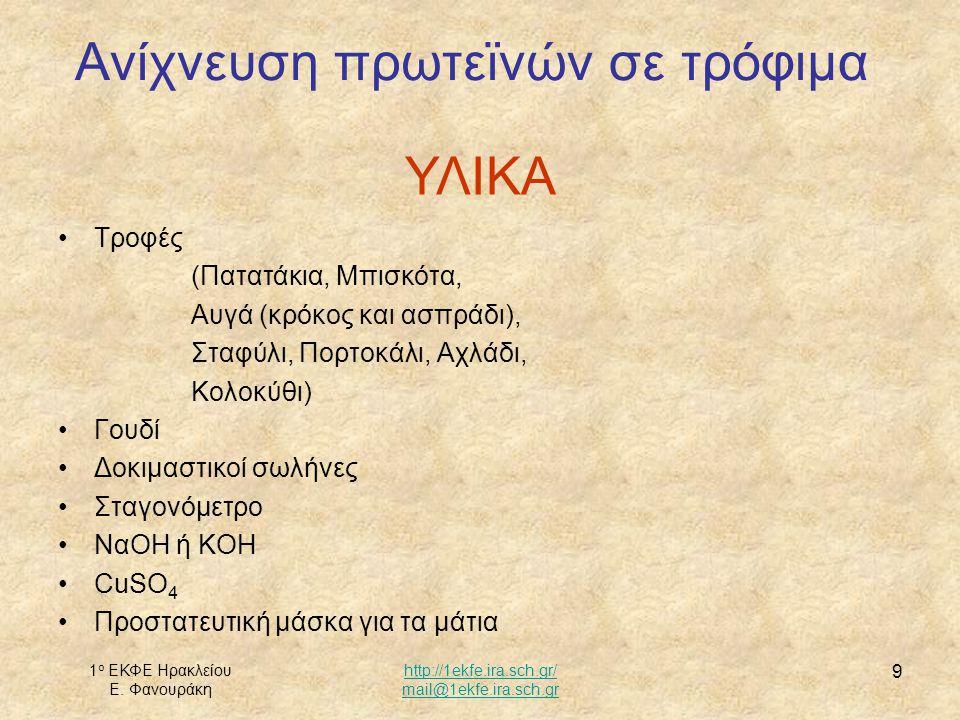 1 ο ΕΚΦΕ Ηρακλείου Ε. Φανουράκη http://1ekfe.ira.sch.gr/ mail@1ekfe.ira.sch.gr 9 Τροφές (Πατατάκια, Μπισκότα, Αυγά (κρόκος και ασπράδι), Σταφύλι, Πορτ